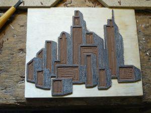 le lino gravé de la ville