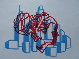 linogravure 2 couleurs la fille dans la ville