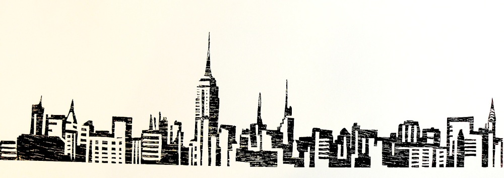 bois gravé : New York *** woodcut New York (6/6)