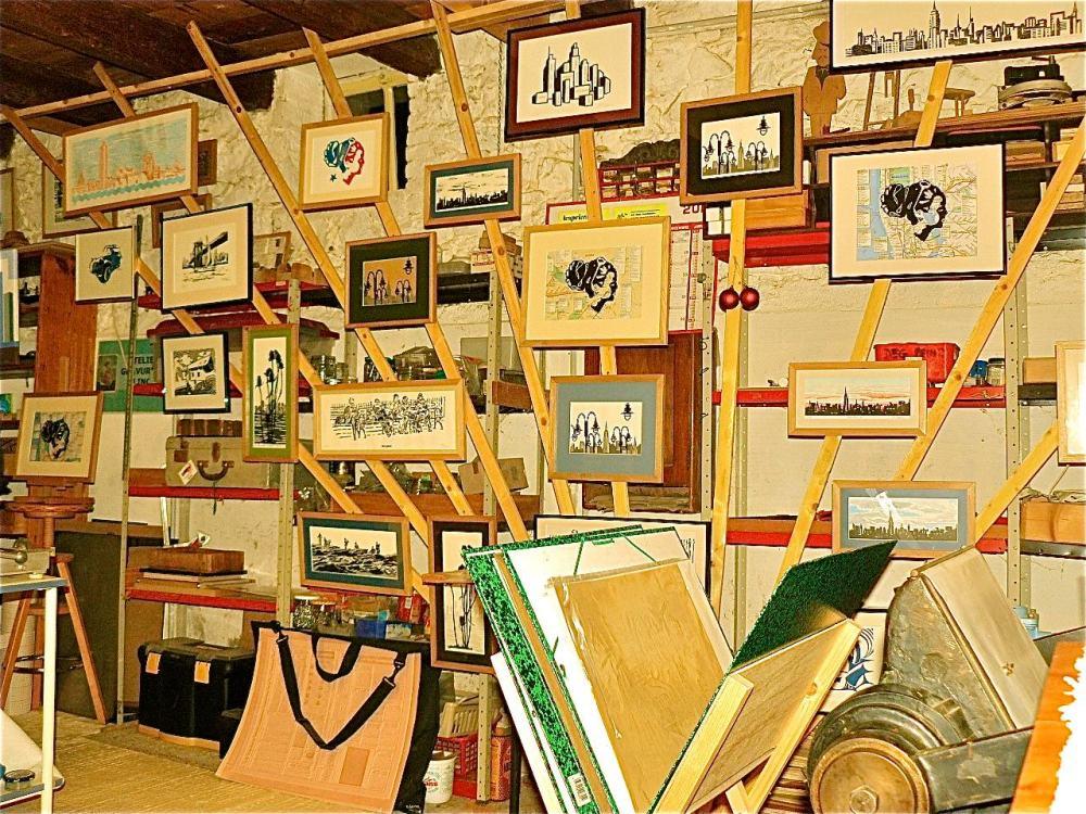 Travail et expo dans l'atelier de linogravure (2/4)