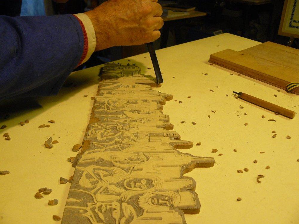 Travail et expo dans l'atelier de linogravure (4/4)