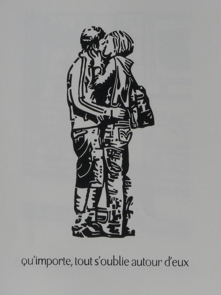 rencontre amoureuse en 5 linogravures (3/5)
