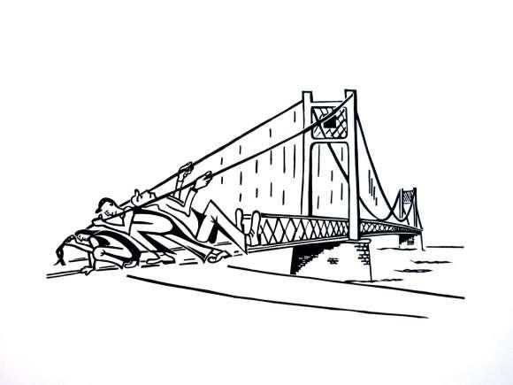 pont tiré papier