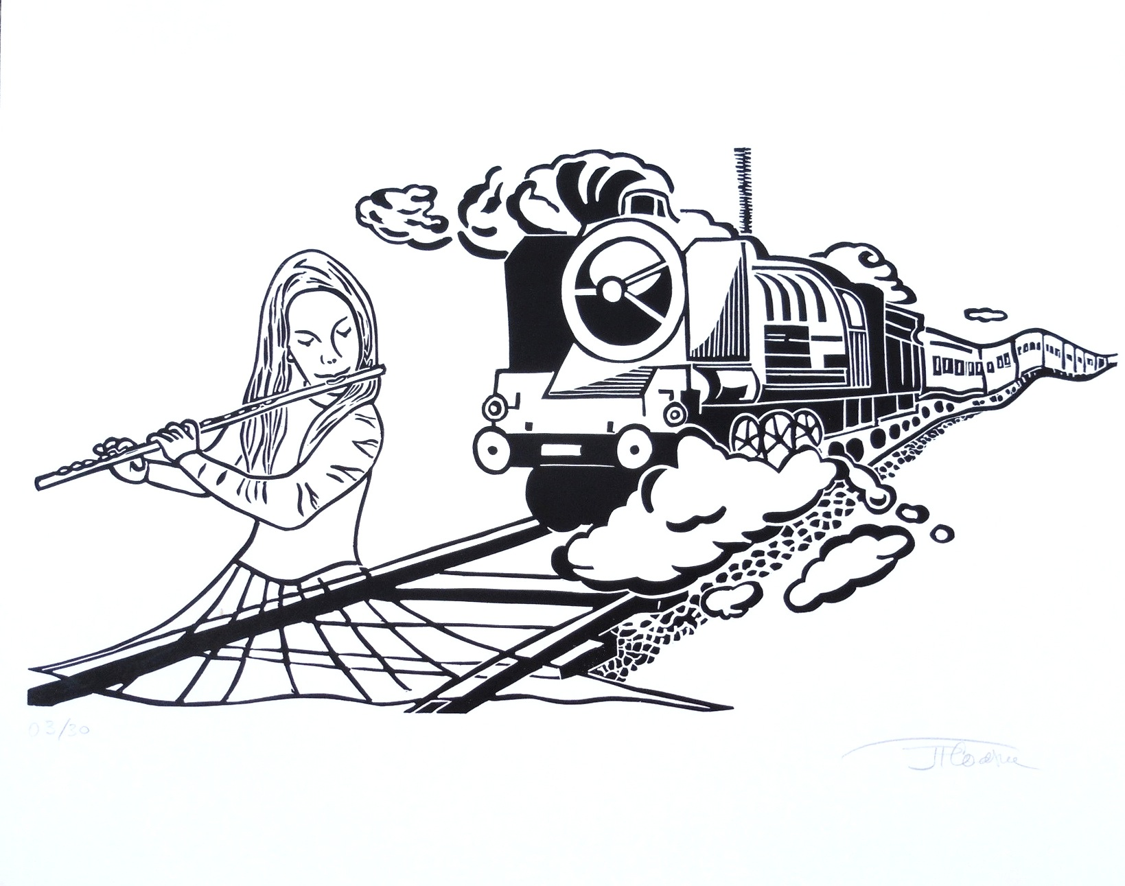 gravure charmeuse de train